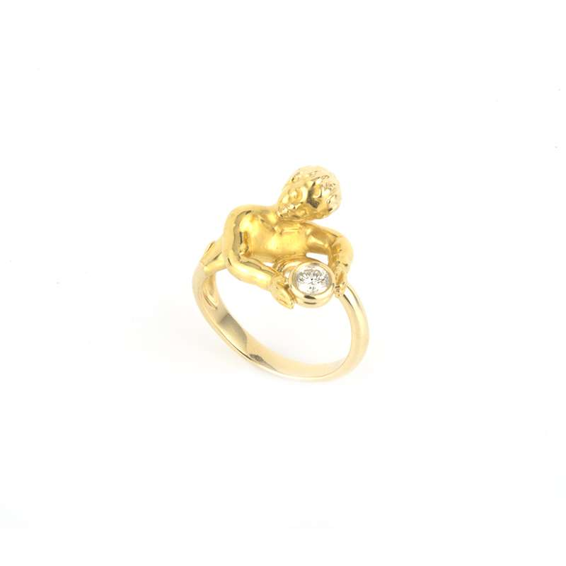 18k Yellow Gold Diamond Cherub Ring